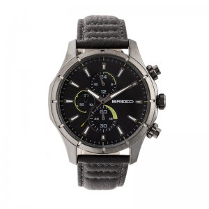 Breed Lacroix Chronograph Leather-Band Watch - Gunmetal/Grey...