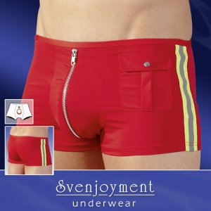Svenjoyment Firefighter Zip Front Pocket Boxer Brief Underwear Red 2131129