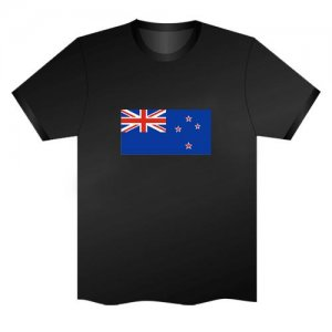 LED Electro Luminescence Flag Of New Zealand Funny Gadgets Rave Party Disco Light T Shirt Black 31798