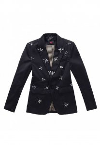 Spy Henry Lau Detachable Trim Tailored Jacket Black 4570MJTCRY