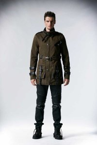 Punk Rave Army Style Coat Coffee Y-532