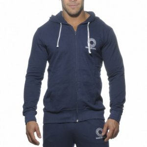 Addicted French Terry Hoody Long Sleeved Sweater Navy AD258