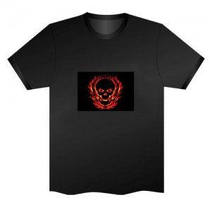 LED Electro Luminescence Fire Ghost Funny Gadgets Rave Party Disco Light T Shirt Black 32011