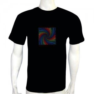 LED Electro Luminescence Visions Shaped Sound Activated Electro Luminescence Flashing Dancing T Shirt Black 12007