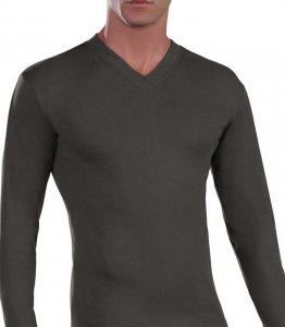 Lord V Neck Long Sleeved T Shirt Charcoal 187