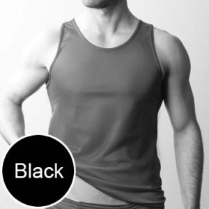 Players Nylon Tricot Tank Top T Shirt Black