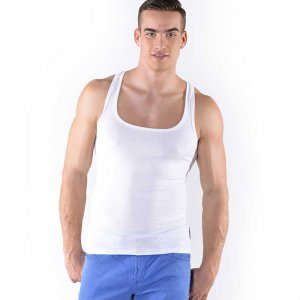Roberto Lucca Square Neck Tank Top T Shirt White 80003-00010