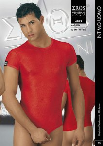 Eros Veneziani See Through Textured Short Sleeved T Shirt Red 6899