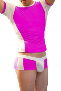 Icker Sea Duotone Matching T Shirt & Boxer Brief Set Fuchsia/White COR-16-04
