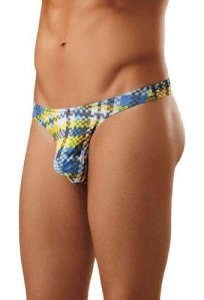 Male Power Digital Plaid Bong Thong Underwear Blue 442-181 USA1