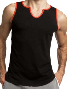 Jack Adams Core V Neck Tank Top T Shirt Black/Red 403-107