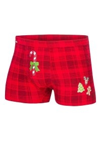 Cornette Christmas Candy Cane Plaid 017/42 Boxer Brief Under...