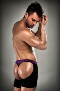 Passion Lingerie Long Leg Thong Boxer Brief Underwear Purple/Black 009