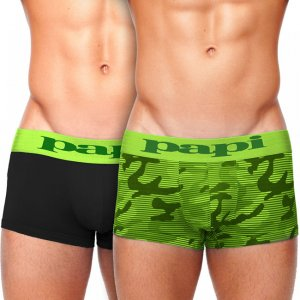 Papi [2 pack] Incognito Hanging Brazilian Trunks Boxer Brief Underwear Green 626195