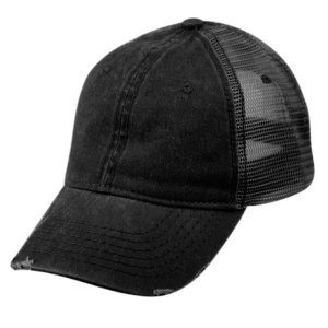 Epoch E Flag Vintage Pigment Dyed Trucker Hat Black CP033