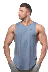 Jed North Luxe Flex Vintage Washed Muscle Top T Shirt Blue