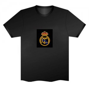 LED Electro Luminescence Badge Of Real Madrid Funny Gadgets Rave Party Disco Light T Shirt Black 31999