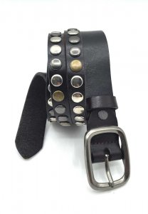 Spy Henry Lau Double Stripe Studs Leather Belt Black SP788AC...