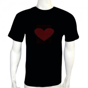 LED Electro Luminescence Hasty Heart Shaped Funny Gadgets Rave Party Disco Light T Shirt 12008