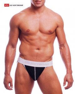 Go Softwear California Colors Cotton/Lycra Jock Strap Underwear Black/White 2039