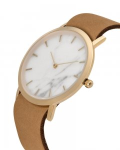 Analog Watch Classic White marble Dial & Tan Strap Watch GT-...