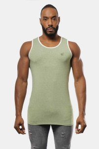 Jed North Retro Fitted Tank Top T Shirt Sage JNTOP019