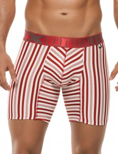 Xtremen Stripe Microfiber Boxer Brief Underwear Red 51384