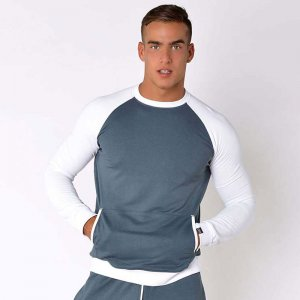 Roberto Lucca Sporty Sweat Long Sleeved T Shirt Grey Blue 70...