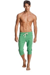 4-rth Cuffed Yoga 3/4 Pants Solid Bamboo Green