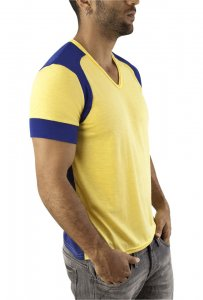 Vuthy V Neck Short Sleeved T Shirt Navy/Yellow 246