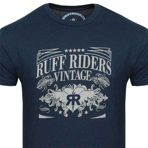 Clearance Ruff Riders Legacy Short Sleeved T Shirt Navy