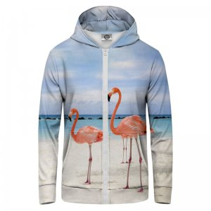 Mr. Gugu & Miss Go Flamingos On The Beach Unisex Zip Up Hoodie H-PC215