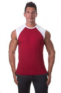 Bloke Undees Contrast Shoulder Muscle Top T Shirt Maroon SRC...