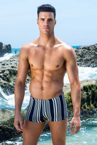 Sauvage Tuscan Stripe Square Cut Trunk Swimwear Navy