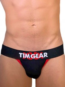 TIM Gear Contrast Trim Jock Strap Underwear Black