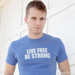 Live Free Be Strong Plain Short Sleeved T Shirt Vintage Royal