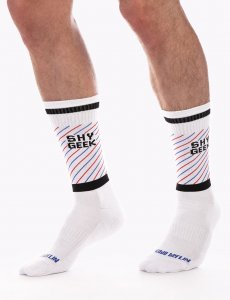 Barcode Berlin Shy Geek Gym Socks White/Black/Red 91627-225