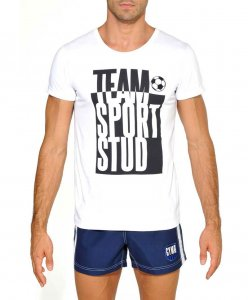 STUD Team Sport Athletic Short Sleeved T Shirt White