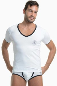 L'Homme Invisible Gym V Neck Short Sleeved T Shirt White MY61-CON-002