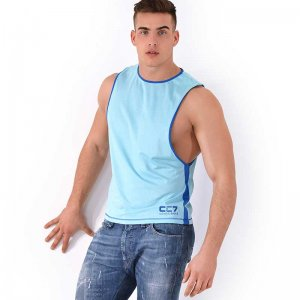 Roberto Lucca CC7 Large Armhole Muscle Top T Shirt Turquoise...
