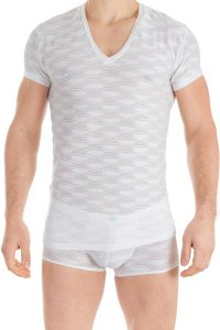 L'Homme Invisible Plisse V Neck Short Sleeved T Shirt White MY73L-PLI-002