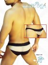Icker Sea Transparent Wide Stripe Slip Bikini Underwear Black I-157