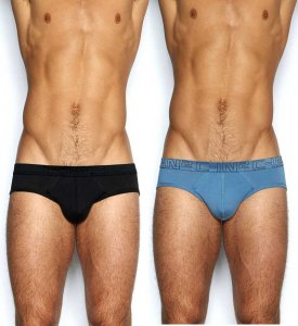 C-IN2 [2 Pack] Low No Show Brief Underwear 70's Blue & Black 1213J