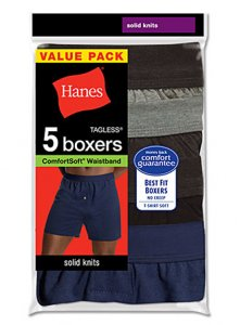 Hanes [5 Pack] Comfort Soft Knit Loose Boxer Shorts Underwear Assorted V-MKCBX5