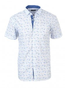 Spazio Floral Short Sleeved Shirt White/Blue 51-3694