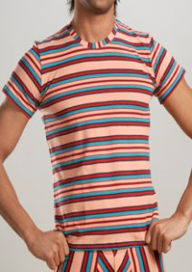 Geronimo Stripes Short Sleeved T Shirt Pink 7802T3