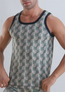 Geronimo Vest Tank Top T Shirt Green 957t1