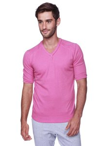 4-rth Hybrid V Neck Short Sleeved T Shirt Berry