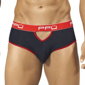 PPU Stripe Cut Out Brief Underwear Black/Red 1309