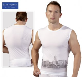 Svenjoyment Skyline Muscle Top T Shirt White 2160048